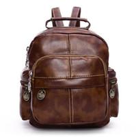 2016 Sacs New Fashion Designer Brand Leather Sacs à dos Vintage Hommes Voyage portable Noir Brown Outdoor école Sacs à dos femmes