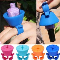 Wholesale New Soft Silicone Finger ring Wearable Nail Gel Polish Bottle Holder Creative Nail Art Tools Polish Varnish Bottle Display Stand holder H003