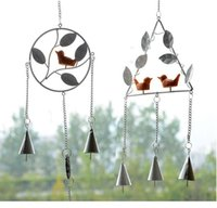 Wholesale Retro Bird Windbell Wind Chimes Iron Wind Chime Metal Aeolian Bells Wind bell Wall Hanging Vintage Home Decor Gift