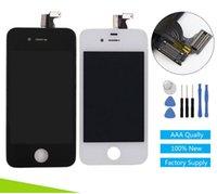 Apple numériseur France-Noir / blanc pour l'écran de l'iPhone 4G écran Touch digitizer écran LCD pour iphone4G affichage cadre remplacement Pantalla + outils Freeshipping