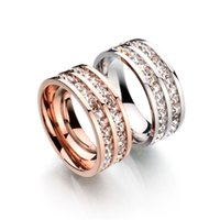 Wholesale Factory Direct Top Quality Concise Stainless Steel Crystal Ring K Rose Gold Plated Austrian Crystals Wedding Ring For Gift