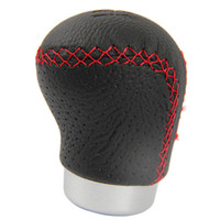 Wholesale Black Leather Red Stitched Car Gear Shift Knob Shifter Lever Universal Fit for Manual Transmission Drive