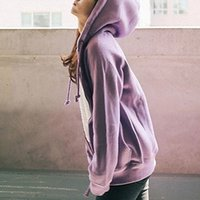 Wholesale Hoodies Women Autumn New Style Sports Kpop Hooded Sweatshirts Solid Casual Loose Zip up Thick Coats Ladies Fit Tracksuit