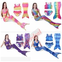 Wholesale Kids Mermaid Bikini Mermaid Tail Swimwear Girls Mermaid Tail Swimmable Baby Swimsuit Swimming Costumes Tops Bottom Mermaid Dress Set B233