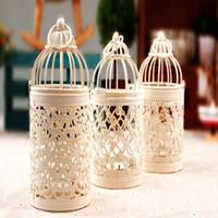 Wholesale white birdcage candle holders wedding decoration iron candlestick lantern