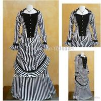belle buttons - 2016 Black Striped Two Pieces Civil War Southern Belle Historical Dresses Women Renaissance Medieval Long Southern Belle Gowns