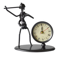 Wholesale Home Decoration of Iron man Playing Violin Model With Clock Violin Model Clock