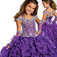 Wholesale Purple Girl s Glitz Pageant Dresses Ball Gown Organza Flower Girl Dresses Hand Made Flowers Beads Crystals Tiers Toddler Pageant Dresse