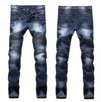 оптовых jeans-Мужские Проблемные рваные джинсы Известный Мода Прохладный Дизайнер Тонкий Мотоцикл Байкер Причинное Denim брюки джинсы Подиум