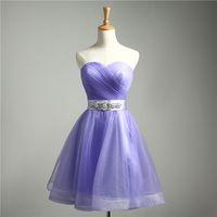 Wholesale 2016 New Sweetheart Neckline Beading Sash Tulle Ruched Homecoming Dress Strapeless Mini Beaded Short Prom Dress