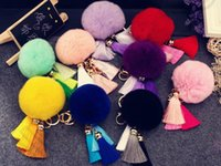 Wholesale Rabbit Fur Ball Plush Key Chain Cartoon Tassels Car Key Ring Bag Pendant Car Keychain colors LJJO881