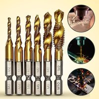 Wholesale 6Pcs HSS Titanium Coated M3 M10 Combination Hex Drill Tap Bit Set New