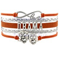 arts leather bracelet - Custom Infinity Love Drama Bracelet Theatre Comedy Art Mask Gift for Drama Amateur Wrap Braided Leather Adjustable Bangles Drop Shipping
