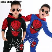 Wholesale Marvel Comic Classic Spiderman Child Costume Sports suit pieces set Tracksuits Kids Clothing sets Coat Pant for y