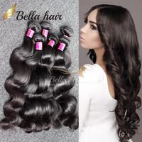 Armadura brasileña del pelo haces de pelo 7A mayor de la fábrica del cuerpo humano de la onda del pelo de la trama peruana de Malasia india 3pc / lot del pelo de envío libre de Bella