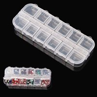 Wholesale 12 Compartment Empty Plastic Storage Case Rhinestones Dired Flower Nail Art Products Earring Jewelry Container Organizer Box