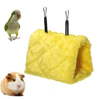 Wholesale Yellow Warm Canary Hut Nest Size L Bird Hamster Hammock Hanging Cave Cage Plush Tent Bed Bunk Parrot With Buckles