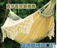 Wholesale The high end outdoor hammock with double outlet of pure cotton tassel European linen canvas hammock white thickened