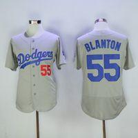 Wholesale Cheap Uniform Shirts For Men - Los Angeles Dodgers #55 Blanton Grey Jersey Cheap Baseball Jerseys Embroidered Baseball Uniforms Hot Sale Baseball Shirts for Men