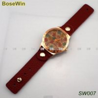 background stainless steel - ot Sell Flower Background and Rhinestones Watches Top Layer Leather Watchband Wristwatches Gift Women Watch SW007 watch boxes for wo
