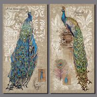 al por mayor pintura pluma de pavo real-La pluma verde retra del animal del pavo real florece la decoración impresa 2pcs / set sin marco de la decoración de la pared de la pintura de la lona de la decoración de las flores