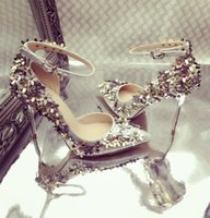Wholesale New fashion wedding shoes silver Rhinestone High heels women s Shoe wedding bridal shoes sandal Bridal Shoes