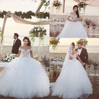 beach sayings - 2017 New Said Mhamad Sexy Off Shoulders Lace Wedding Dresses Ball Gown Sweetheart Appliques Corset Back Princess Bridal Gowns