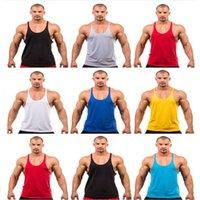 Wholesale Fitness Mens Tank Blank Stringer Cotton Tank Tops Gymshark Singlet Bodybuilding Sport Undershirt Clothes Gym Vest Muscle Singlet