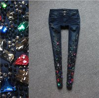 Wholesale European new spring summer fashion jeans Heavy black diamond cultivate one s morality little pencil pants