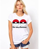 ar shorts - 2016 New AR game Poke ball Women s White T shirts cartoon print short sleeve T shirt Poke Cartoon Fashion Peripheral Products EMS DHL free
