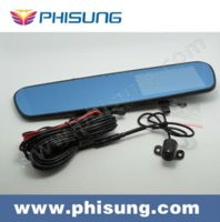 Wholesale Phisung P Car DVR Dual camera quot LCD G Sensor with Waterproor back up rear lens camera rear view mirror dual