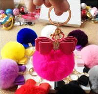 Wholesale Gold Rabbit Fur Ball Keychain fluffy keychain Bow Key Ring Key Chain For Bag