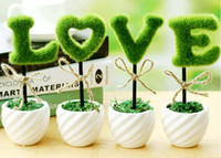 Wholesale new simulation of green LOVE potted plants high quality ceramic pot for desktop decoration valentine gift