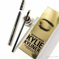 Wholesale Factory Outlet NEW Kylie Jenner Kyliner In Black Brown With Eyeliner Gel pot Brush set eyeliner brush cream Free shopping