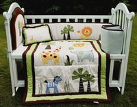baby bedding forest - Baby bedding set Embroidery lion elephants forest animals Cot bedding set Item Crib bedding set Quilt Bumper Cushion Pillow