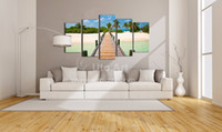 Wholesale Modern Wall Decoration Painting Seascape Piece Canvas Art Ocean Beach Painting Custom Canvas Prints Modular Pictures for Home