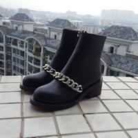 alta heels - 2016 mujeres moda cadenas de tobillo botas de montar de cuero genuino alta calidad de la marca de lujo damas botas Martin Boots gold silver