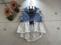 Wholesale new little girl Fashion Wash denim Lace Vest Waistcoat Hiqh Quality Children Clothing