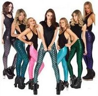 american scale - 2016 New Women s Leggings Mermaid Scales Leggings Sexy Shiny Leggings Leggings Female Fitness Sports Eight Colors S XL Code