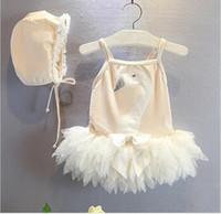 Wholesale HOT Swan Mesh baby girl swimsuit lace girls swimwear princess pink beach girls bathing suit kids swim suit girl swimming wear hight quality