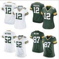 Wholesale Packers women Football jersey Aaron Rodgers Jordy Nelson Clay Matthews cheap green color Soccer rugby shirt Size M XL