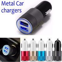 Wholesale TOP Metal Dual USB Port Car Charger Universal Volt Amp for Apple iPhone Samsung Galaxy Motorola Droid Nokia Htc