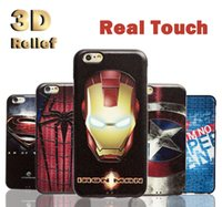 Cheap 3D Shallow Relief Flexible Protective Soft Silicone Case Cell Phone Cases Cover For Apple iphone 6 6s Plus + Fashion Style Superman DHL Free