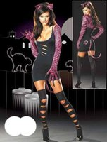 Wholesale 20 Off Hot Seller Round Neck Long Sleeve Dark Night Cat Fancy Dress Sexy Costume W8374
