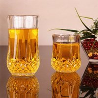 antique glass tea cup - New sale creative set thicker Heat resistant round flower tea fruit juice glass drinking wine glasses cup beer whisky mugs