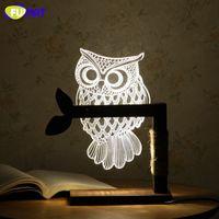 bedside lamp base - 3D Acrylic Owl Lamp Creative Cute OWL Wooden Base Decor Bedside Table Lamp Table Lampara Xmas Gift Brithday