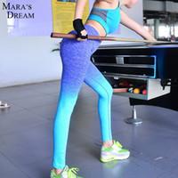 Wholesale Women Yoga pants pink blue tight leggings sport tights running pants women gym fitness leggings workout pants sport suit women custom logo