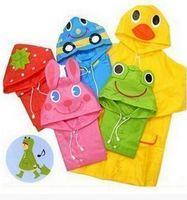 Wholesale 2016 summer cute animals kids raincoat duck rabbit frog colorful hooded waterproof eco friendly polyester childrens rainwear