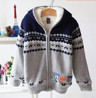 Wholesale hot selling Children clothing younger boy fleece lining cardigan sweater jacket boy hooded warmer sweater coat