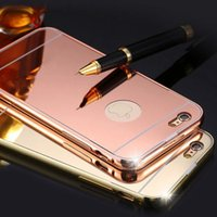 aluminium clip frames - Mirror Electroplating Aluminium Metal Case for iPhone s plus Luxury Thin Frame Protector Hard Back Cover for iphone